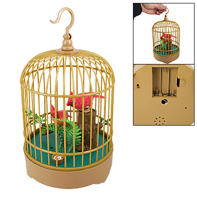 Electronic Ornament Sound Light Bird Cage Voice Control Toy