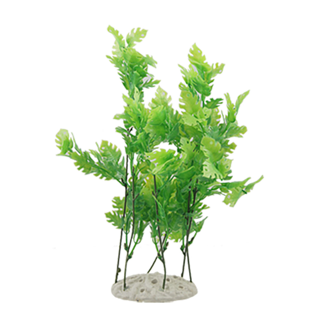 Green Leafs Plastic Plants Ornament w Ceramic Base for Aquarium