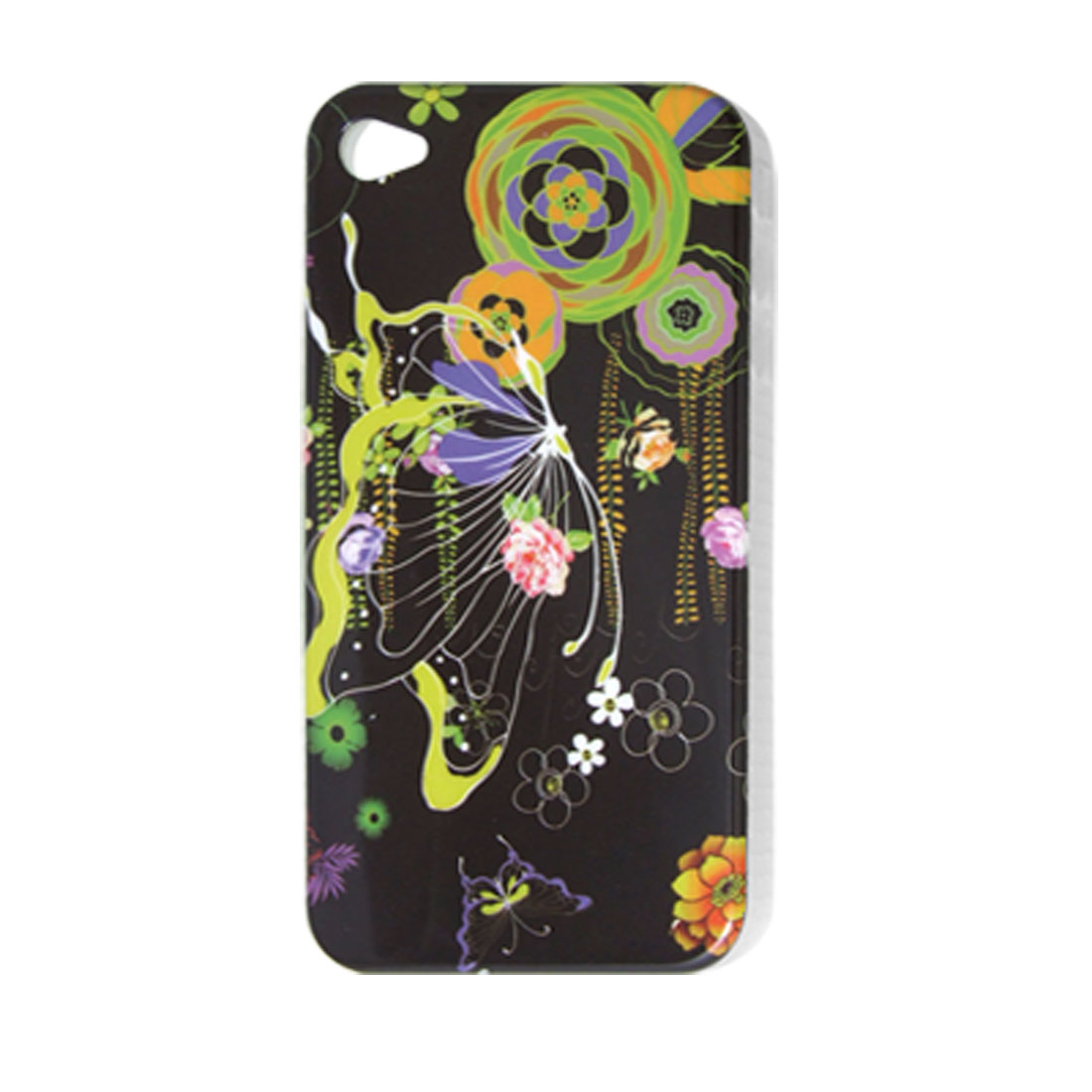 Flower Butterfly Print IMD Hard Plastic Back Case for iPhone 4 4G