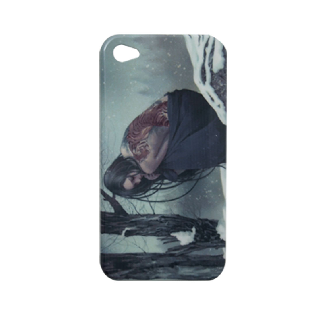 Tiger Print Tattoo Girl IMD Hard Plastic Back Cover for iPhone 4 4G