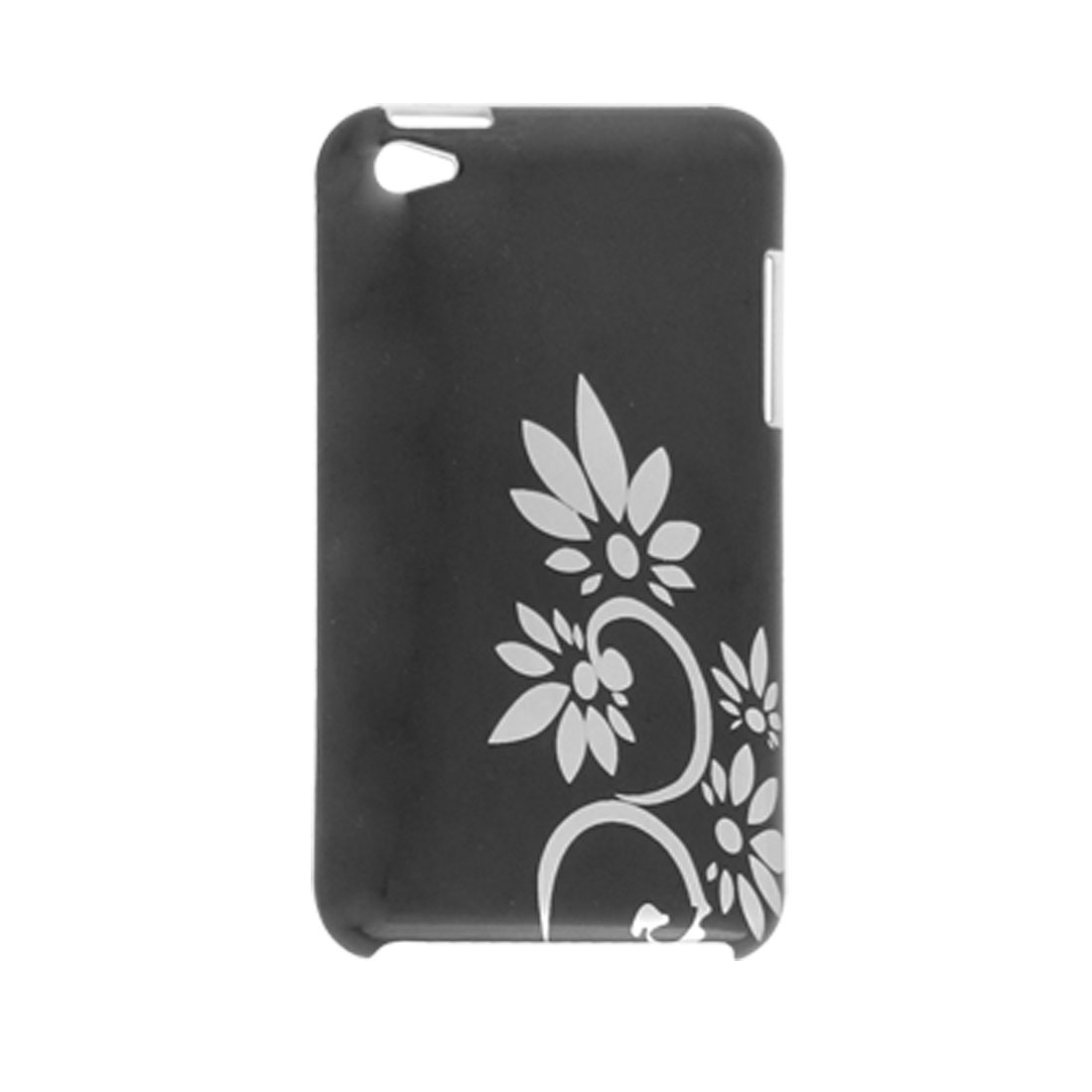 IMD Silver Tone Flower Black Plastic Back Cover for iPod Touch 4G