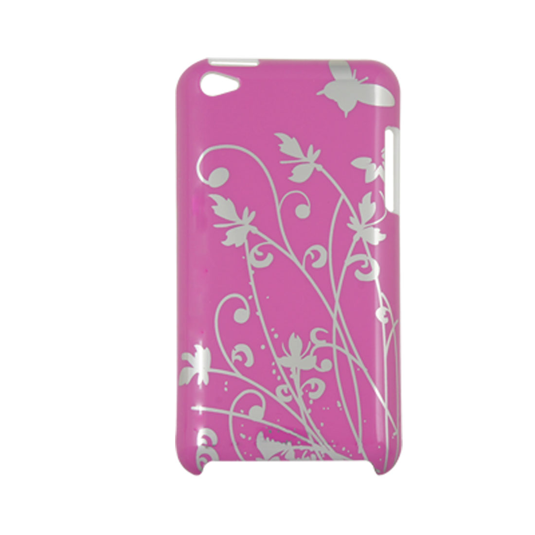 Floral Print Amaranth Pink IMD Plastic Back Case for iPod Touch 4G