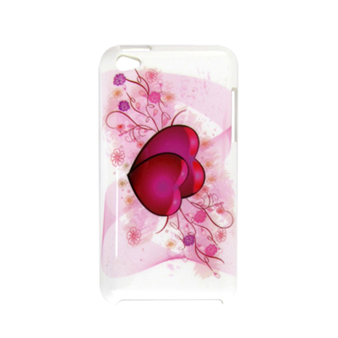 IMD Double Heart White Plastic Back Cover for iPod Touch 4G