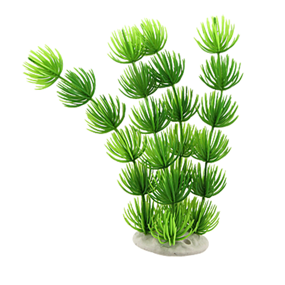 Green Plastic Grass Plants Ornament w Base for Aquarium