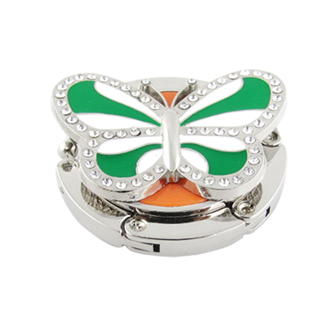 Green White Butterfly Rhinestone Decor Folding Handbag Table Hook