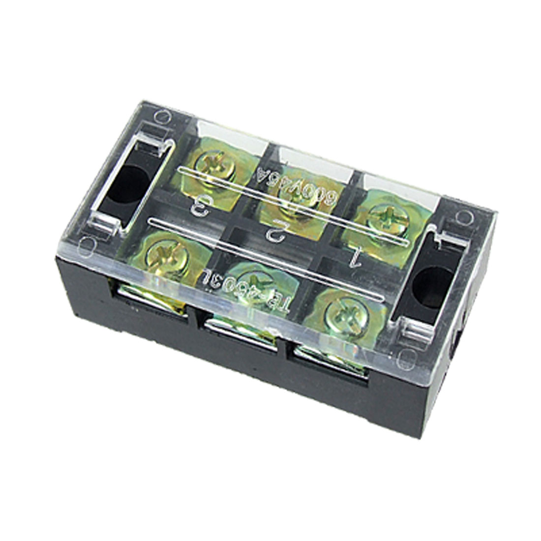 600V 45A Double Row 3 Position Screw Barrier Terminal Block