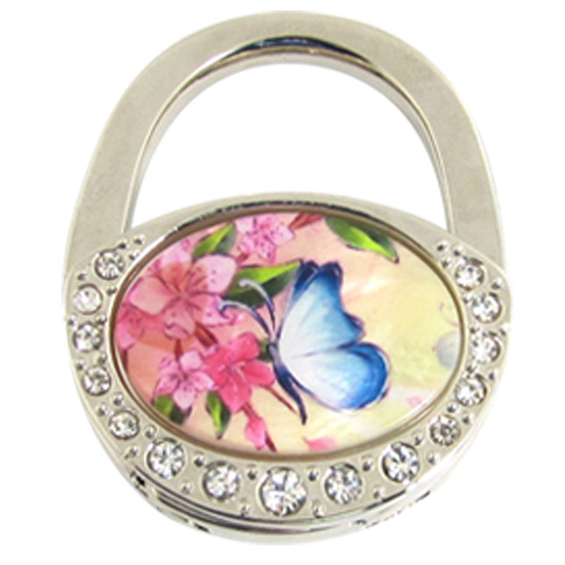 Padlock Shaped Rhinestone Decor Flower Pattern Hook for Handbag