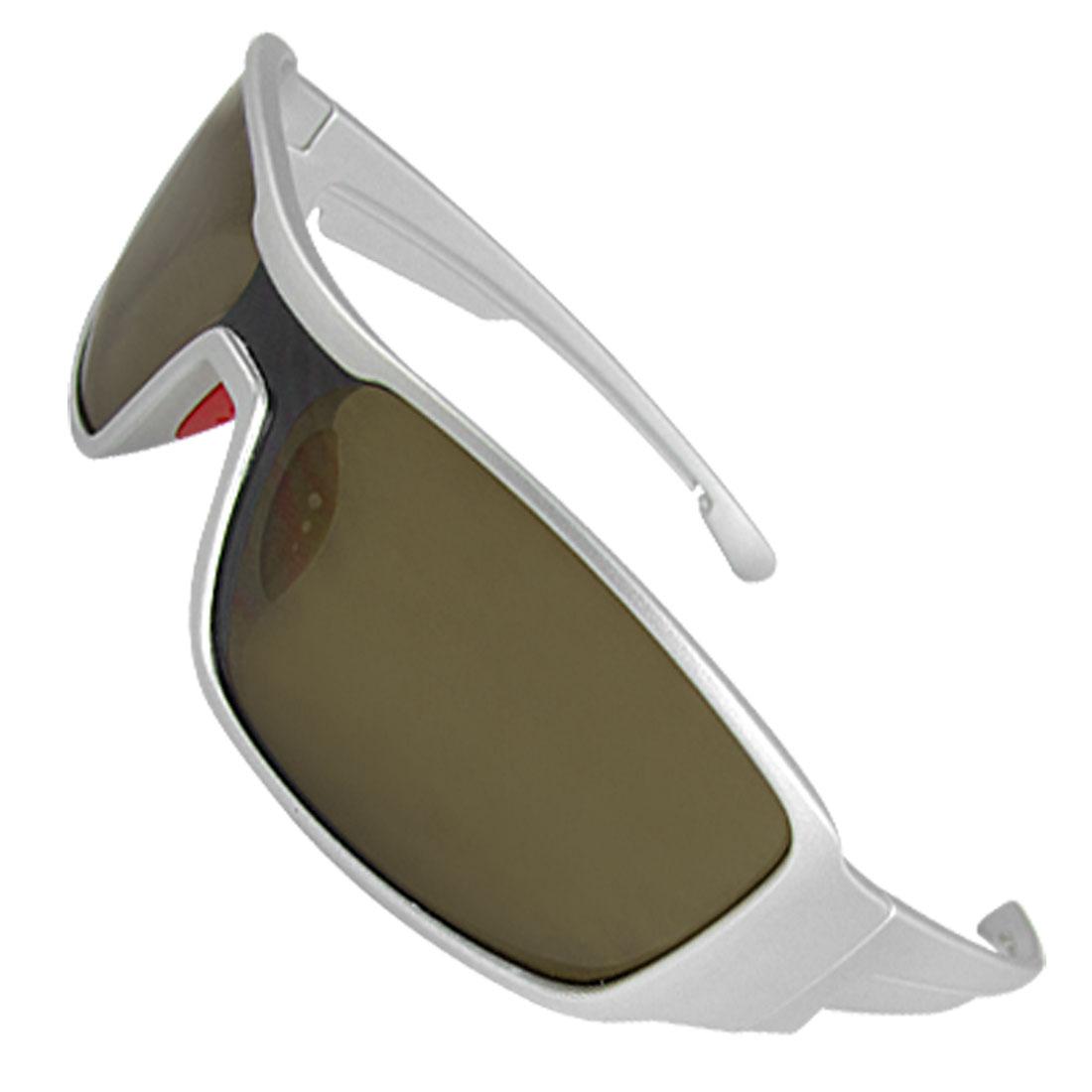 Unisex Silver Tone Plastic Arms Uni-Lens Leisure Sunglasses