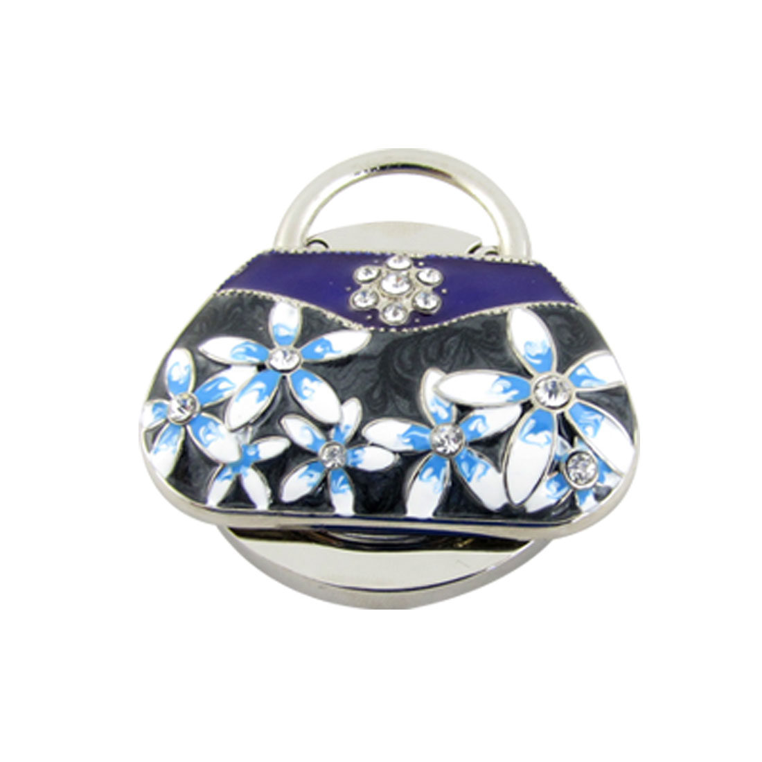 Round Rubber Base Rhinestone Accent Handbag Shaped Purse Table Hanger