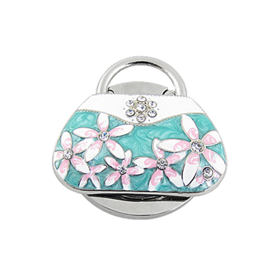 Rhinestone Inlaid Flower Turquoise Green White Handbag Shape Purse Bag Hanger