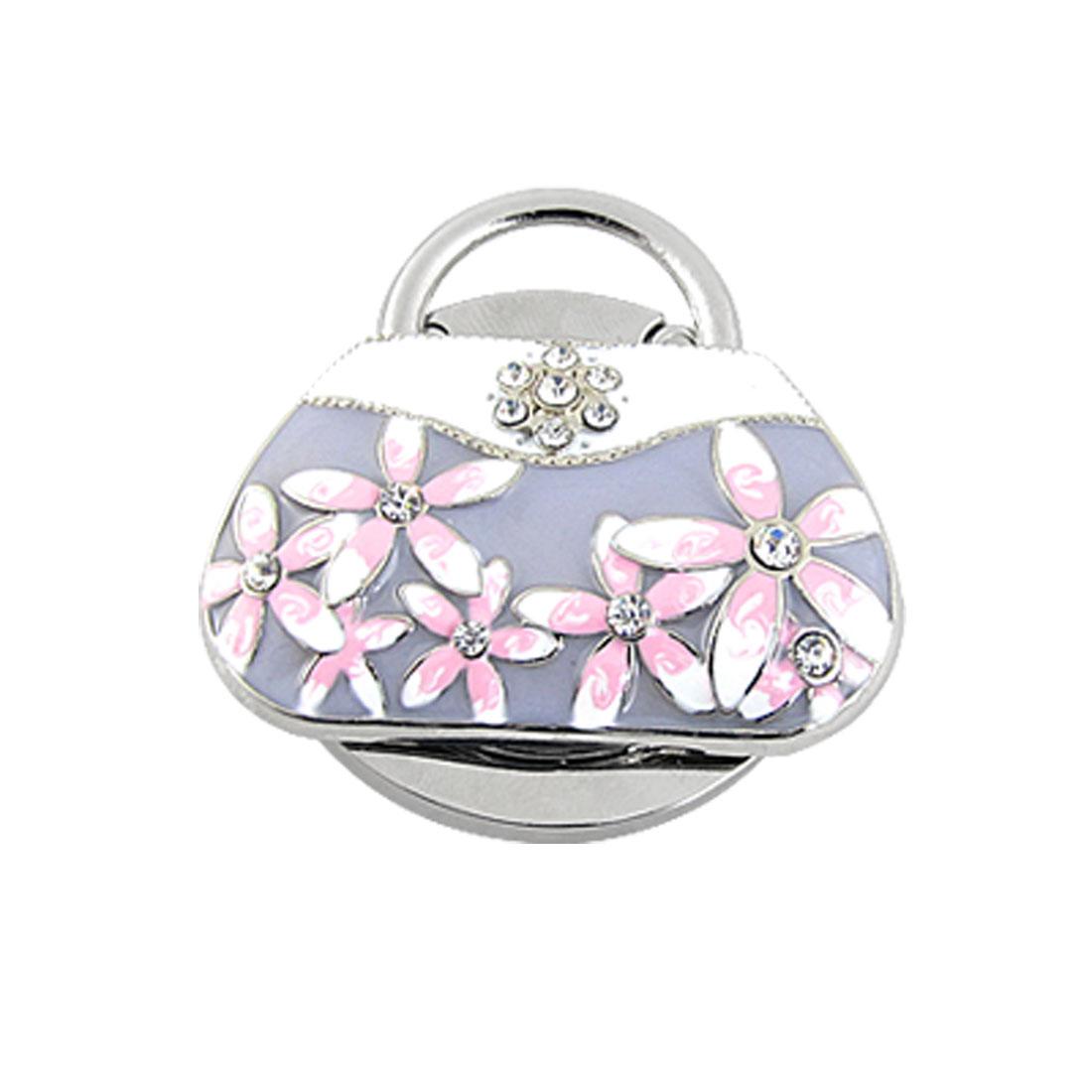 Rhinestone Flower Light Purple White Handbag Design Folding Purse Hanger