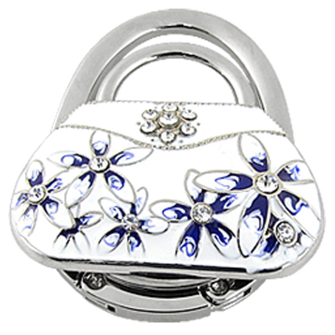 White Handbag Shaped Rhinestone Inlaid Flower Foldable Purse Hook