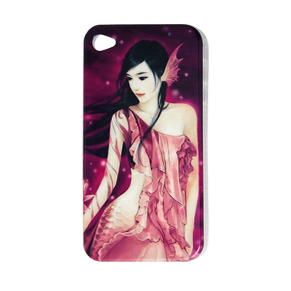Mermaid Print Hard Plastic IMD Back Case for iPhone 4 4G