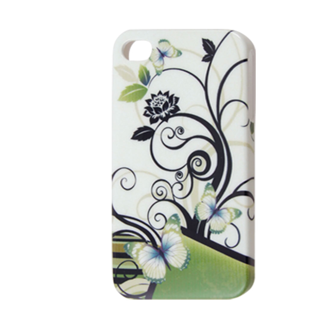 Hard Plastic Butterfly Abstract Flower IMD Back Case for iPhone 4 4G