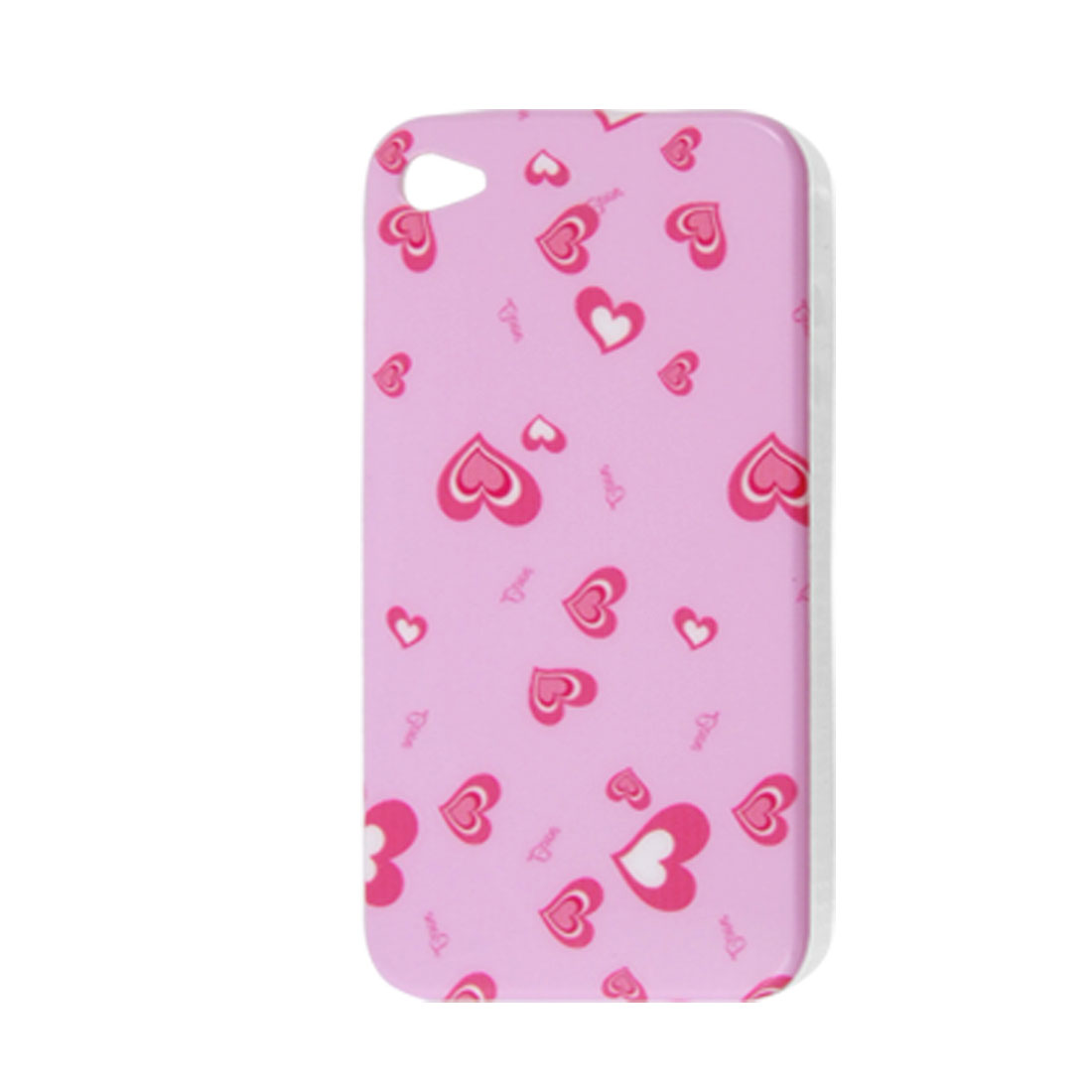 Pink Heart Print Hard Plastic IMD Back Case for iPhone 4 4G