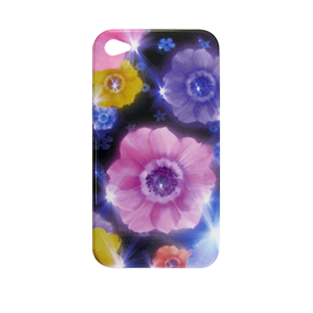 Pink Floral Hard Plastic IMD Back Case for iPhone 4 4G