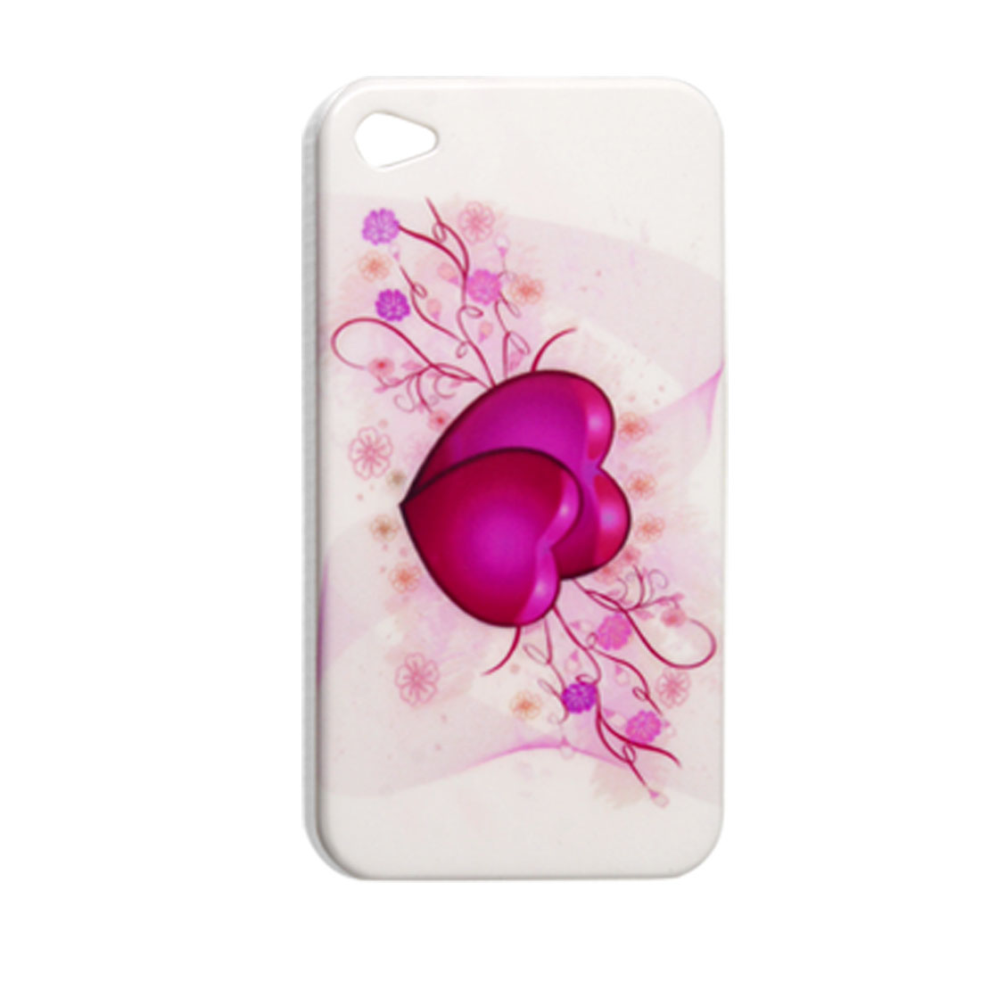 White IMD Back Protector Flower Cover for iPhone 4 4G