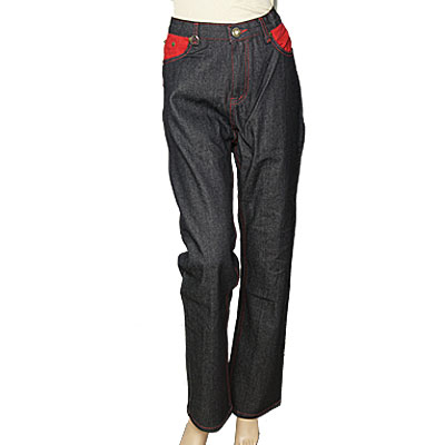 Ladies Red Decor Black Denim Loose Straight Hip Hop Jeans M