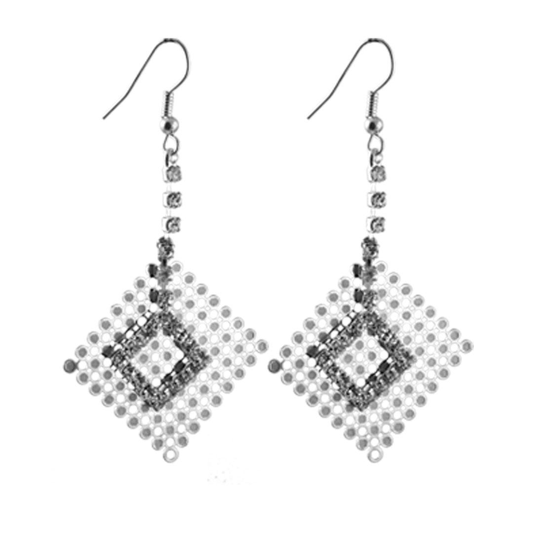 Ladies Rhinestone Chain Double Rhombus Dangle Drop Fish Hook Earring Silver Tone