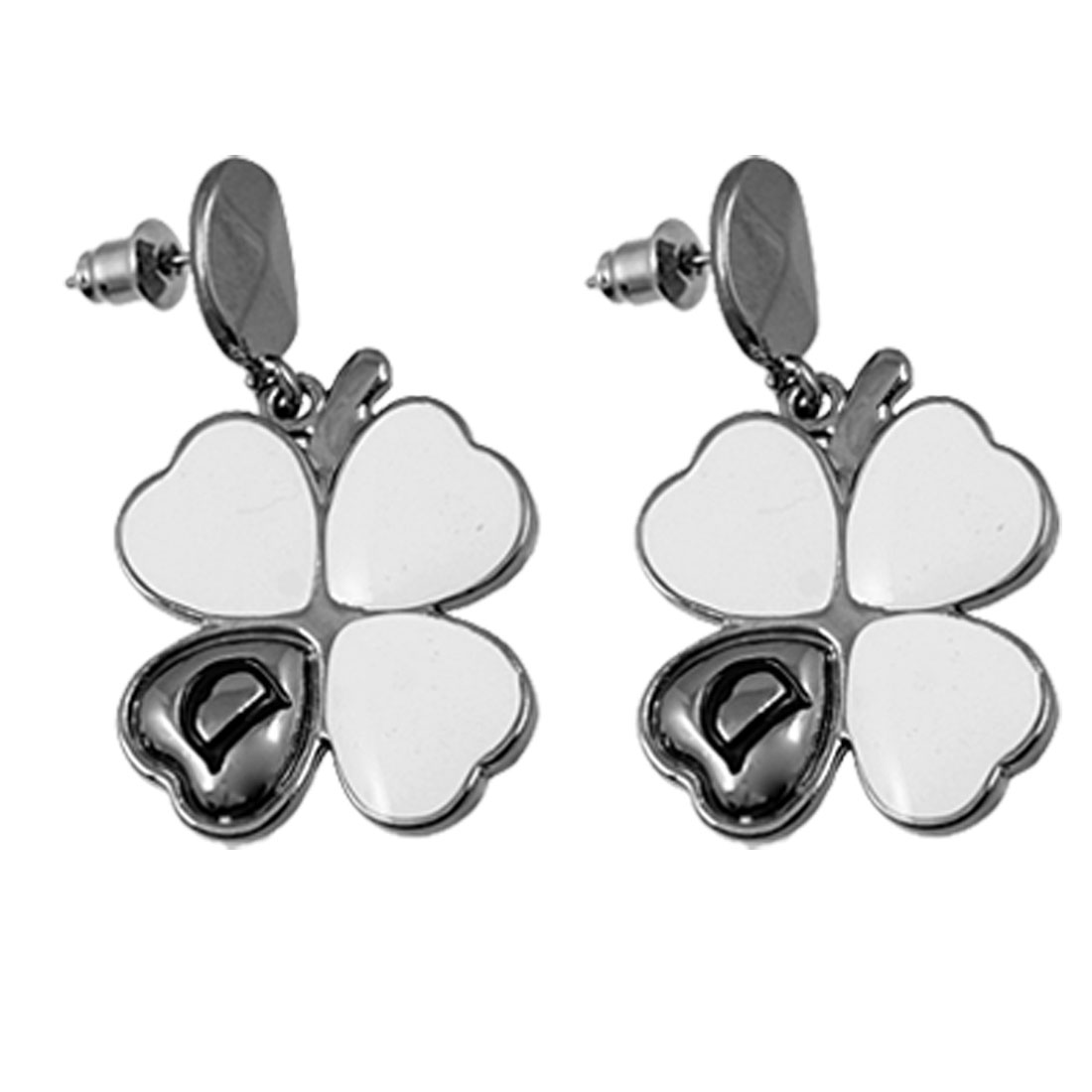 White Clover Shape Eardrop Plated Metal Oval Stud Earring for Ladies