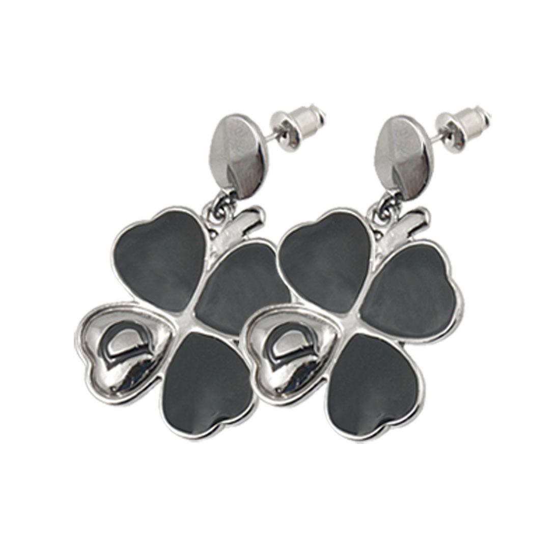 Ladies Black Clover Shape Drop Faceted Oval Stud Earring Pair