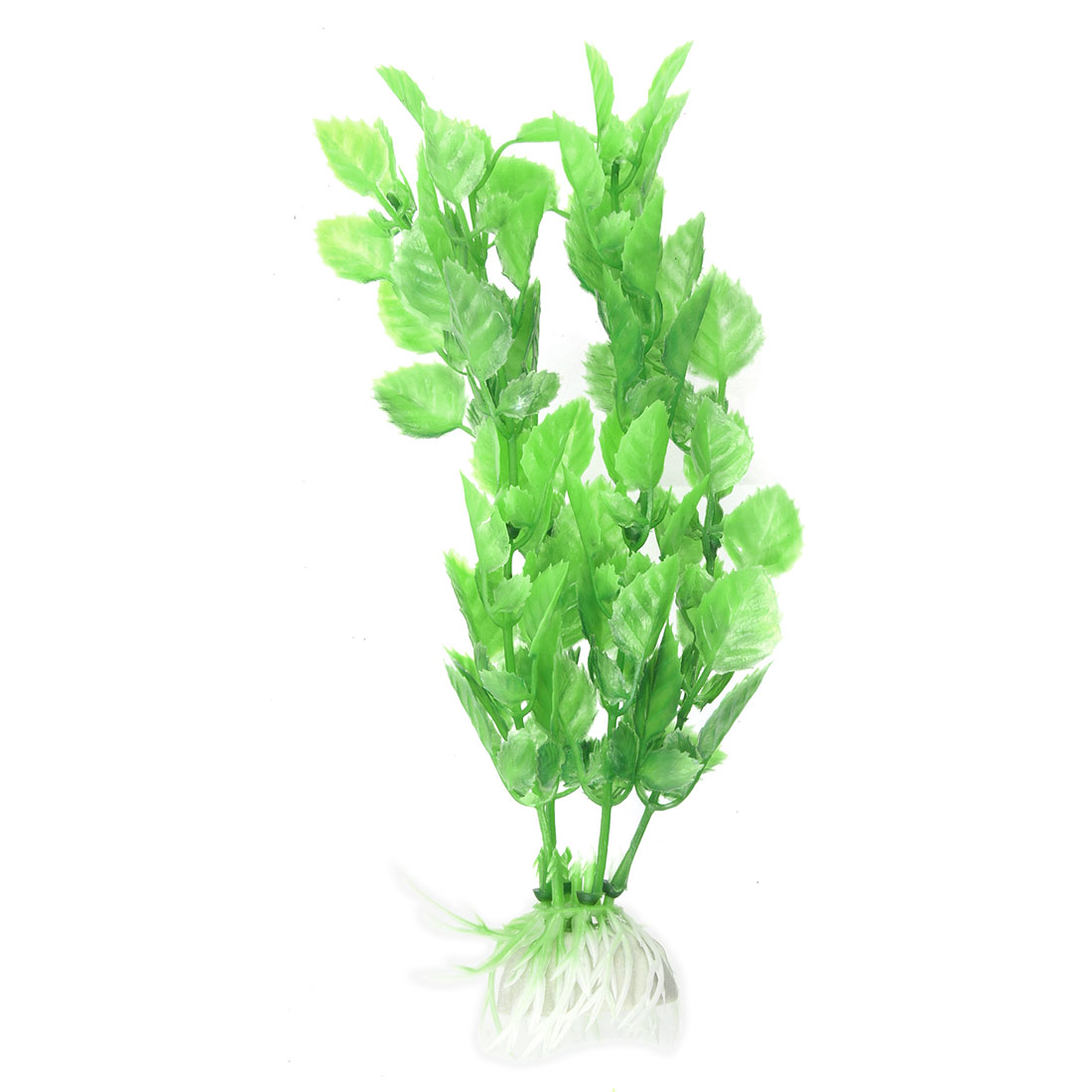 Ceramic Base w Plastic Green Grass Plants Ornament for Fish Tank