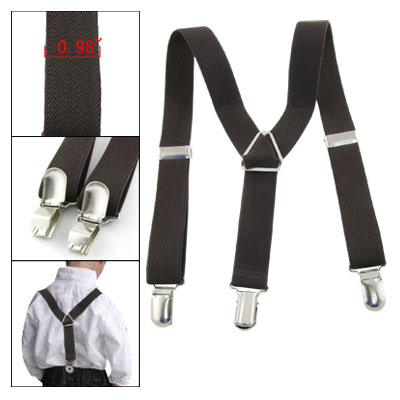 Adjustable Coffee Y-Back Children Trousers Braces Suspenders