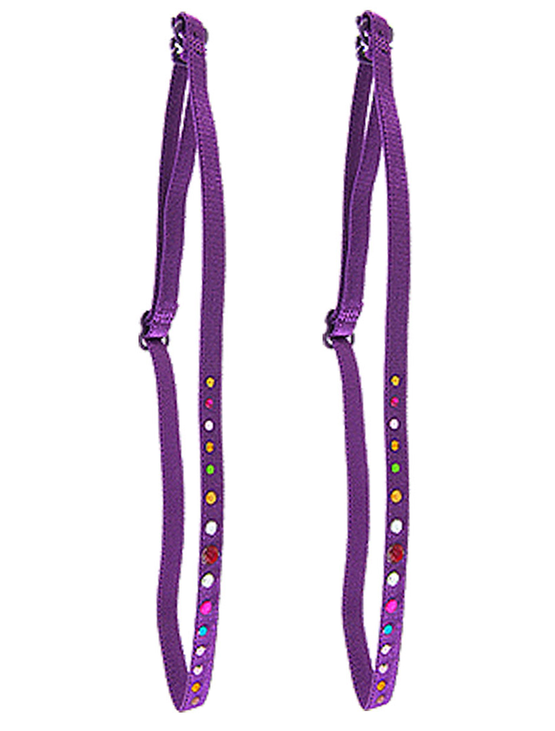 Colorful Rhinestone Decor Adjustable Bra Strap Purple