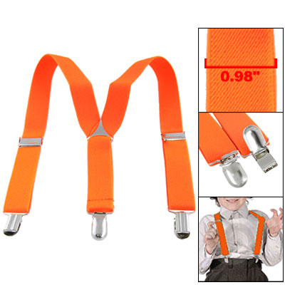 Kids Dressing Orange-red Y-Shape Elastic Suspenders Braces