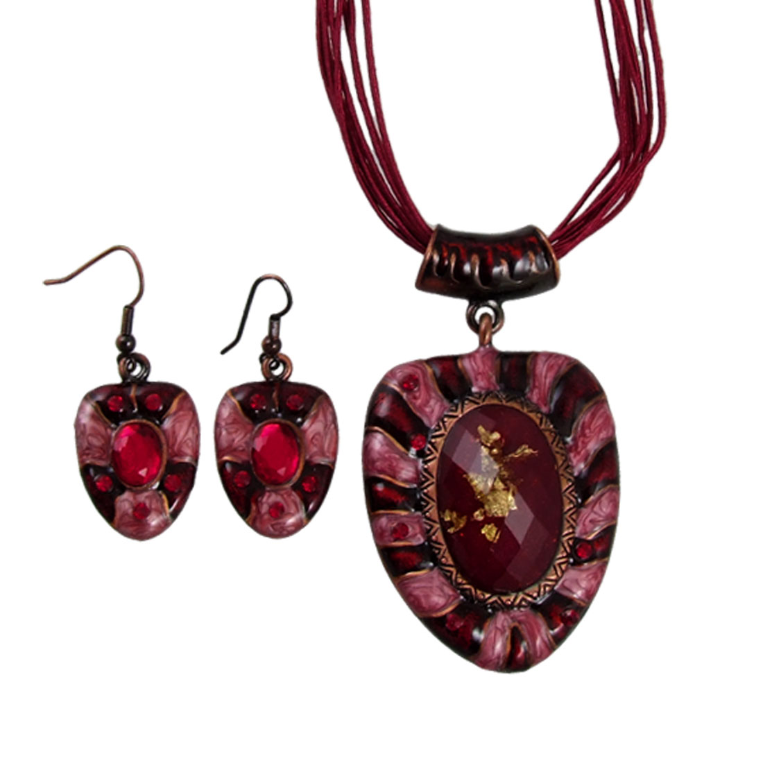 Red Bead Inlaid Shield Pendant Multi String Necklace Earrings Set