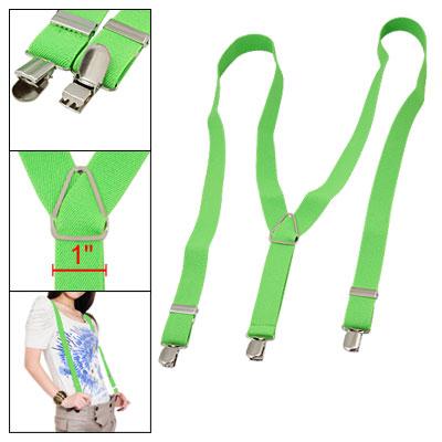 "1"" Width Adjustable Elastic Y Back Metal Clips Suspender Braces Green"