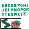 Green Plastic Alphabet Magnetic Stickers Decor 26 Pcs