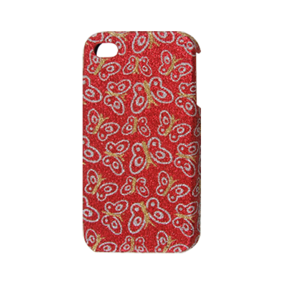Butterfly Print Back Case Protector Red for iPhone 4 4G