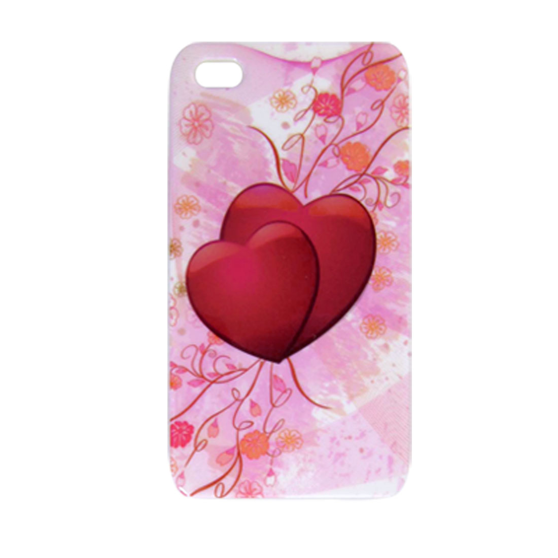 Hard Plastic Red Double Heart Protective Cover for iPhone 4 4G