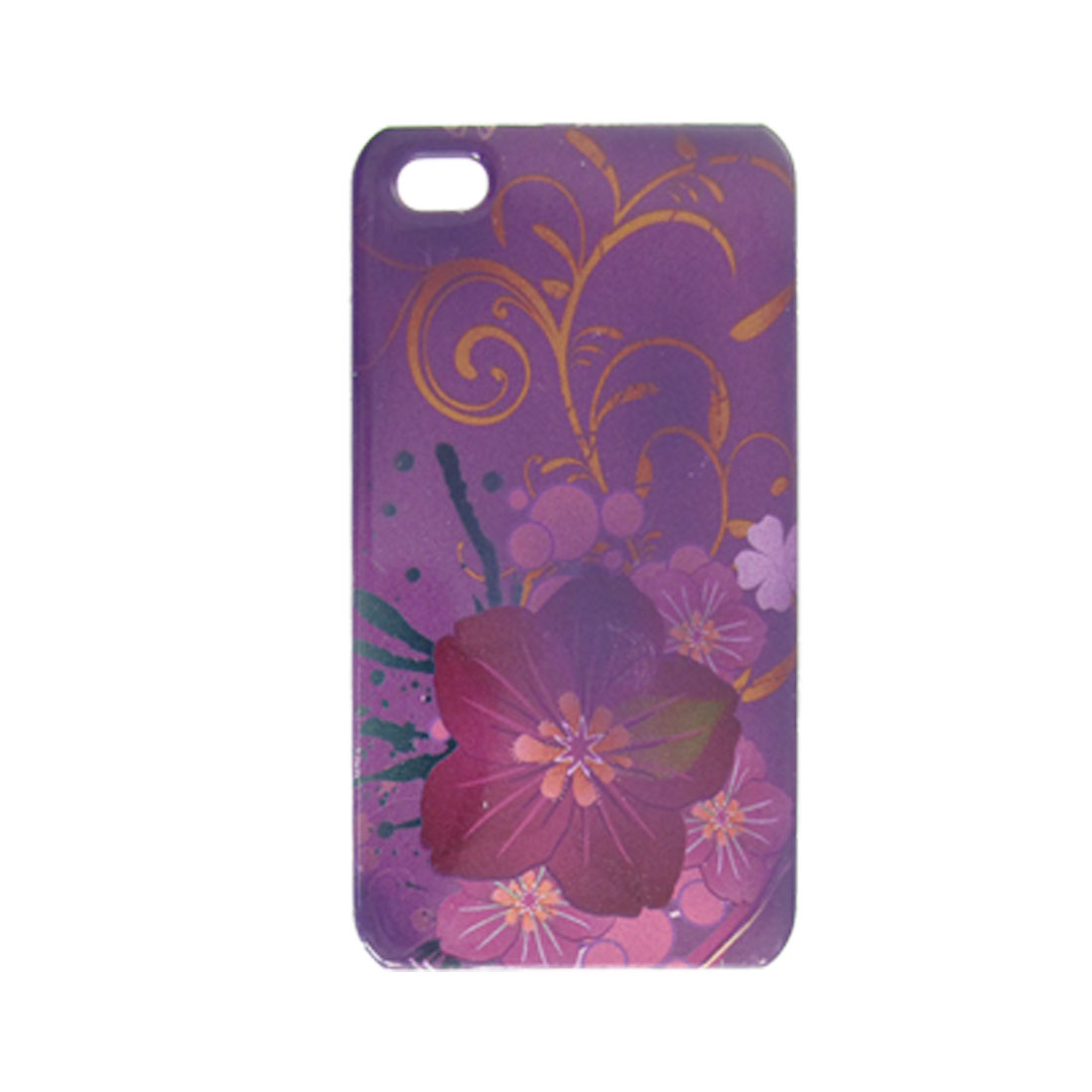 Amaranth Floral Smooth Hard Plastic Protector for iPhone 4 4G
