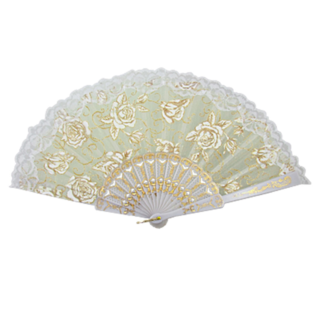 White Plastic Ribs Peony Print Dance Folding Hand Fan