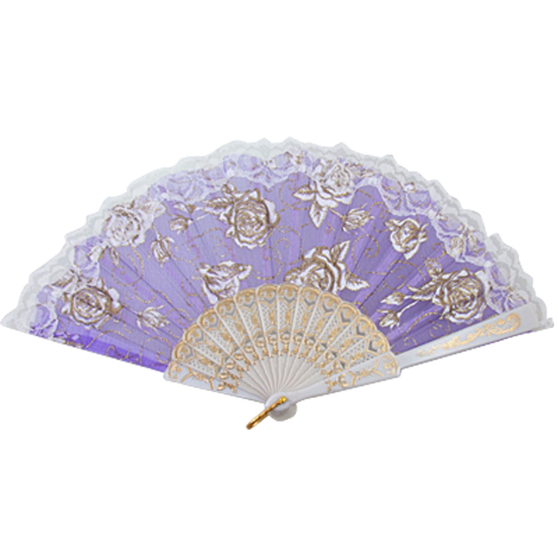 Indigo Blue Plastic Ribs Dance Folding Hand Fan