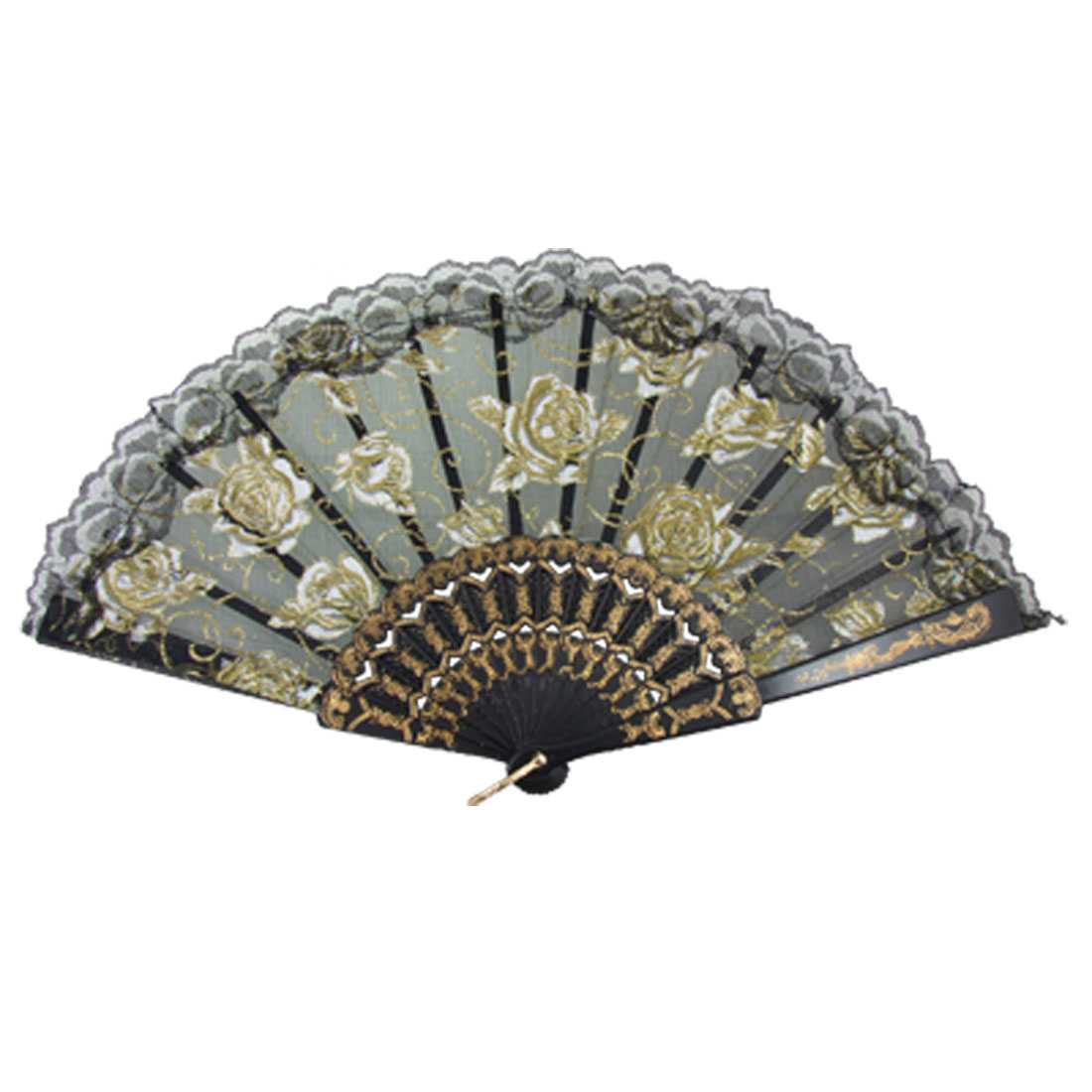 Organza Plastic Ribs Dance Foldable Hand Fan Black