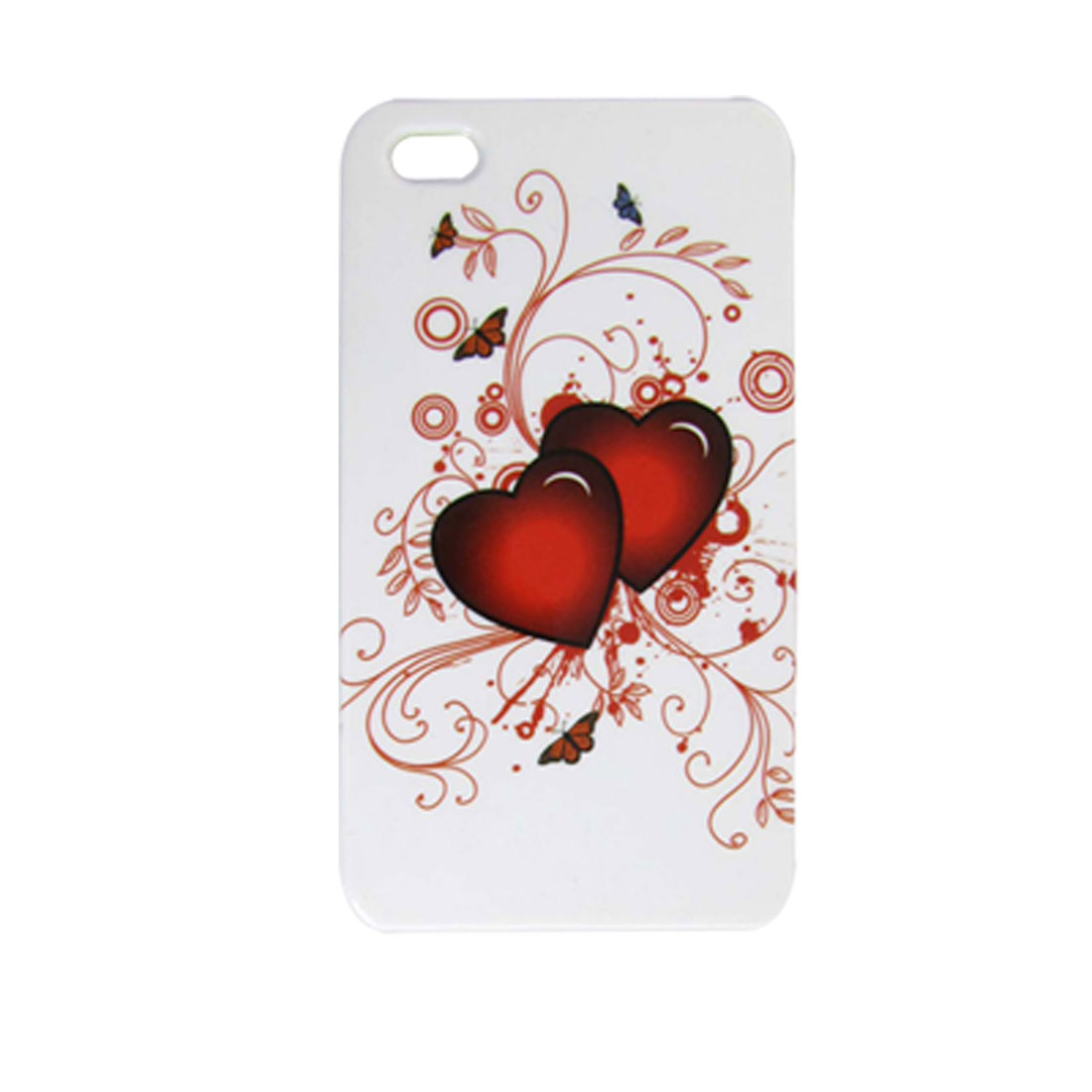 Dark Red Double Heart Hard Plastic Back Case for iPhone 4 4G