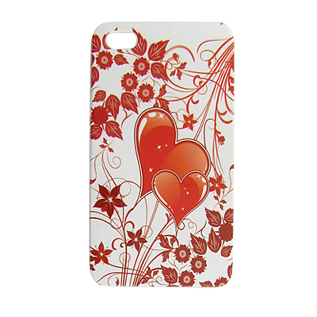 Red Double Heart Hard Plastic Back Case for iPhone 4 4G