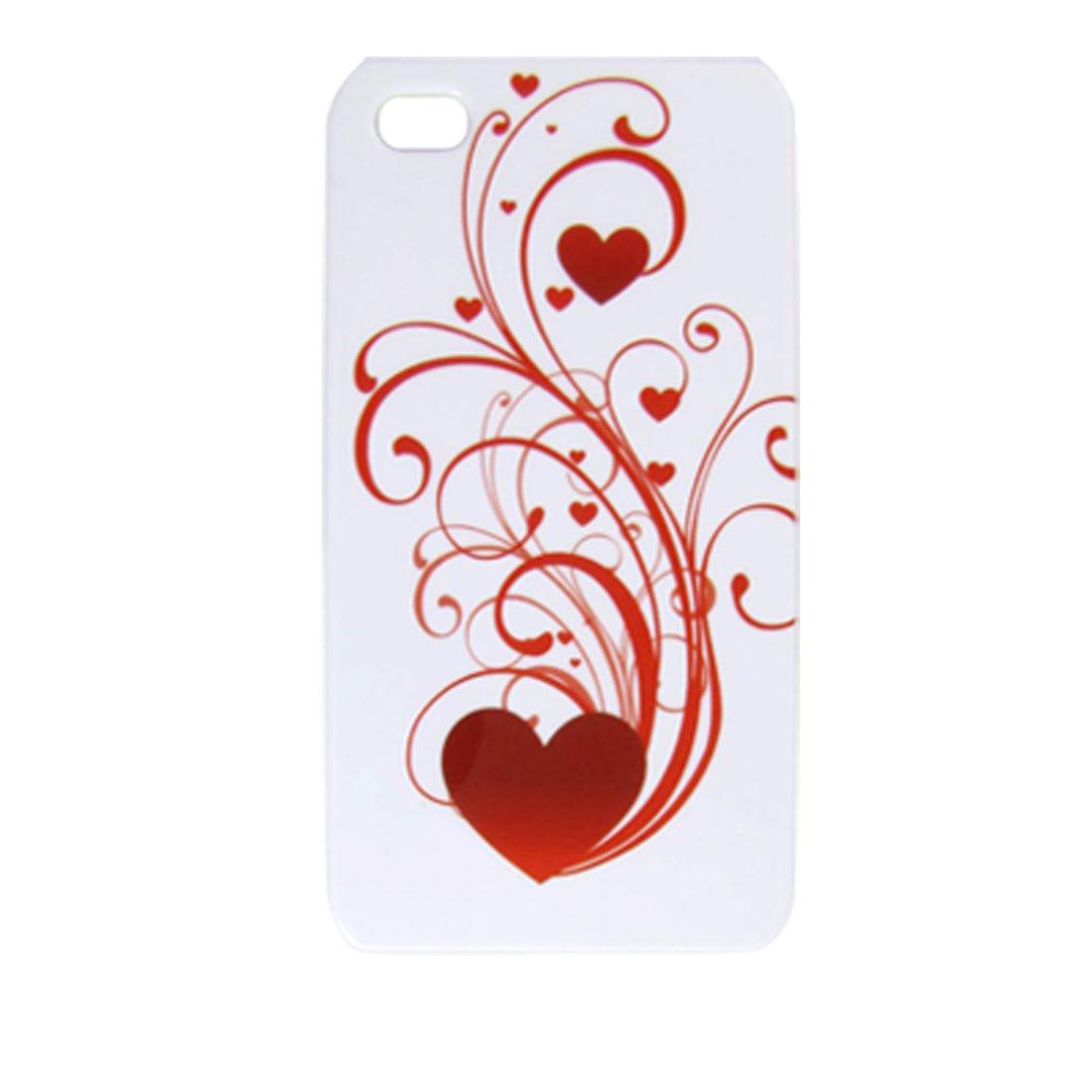 Hard Plastic Red Hearts White Base Back Case for iPhone 4 4G
