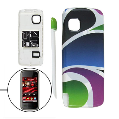 Block Color Plastic Battery Door Cover + Stylus for Nokia 5230