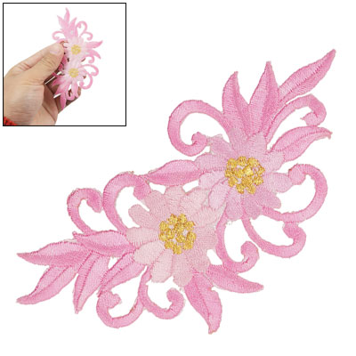 Embroidered Sticker Pink Flower Design Iron On Badge
