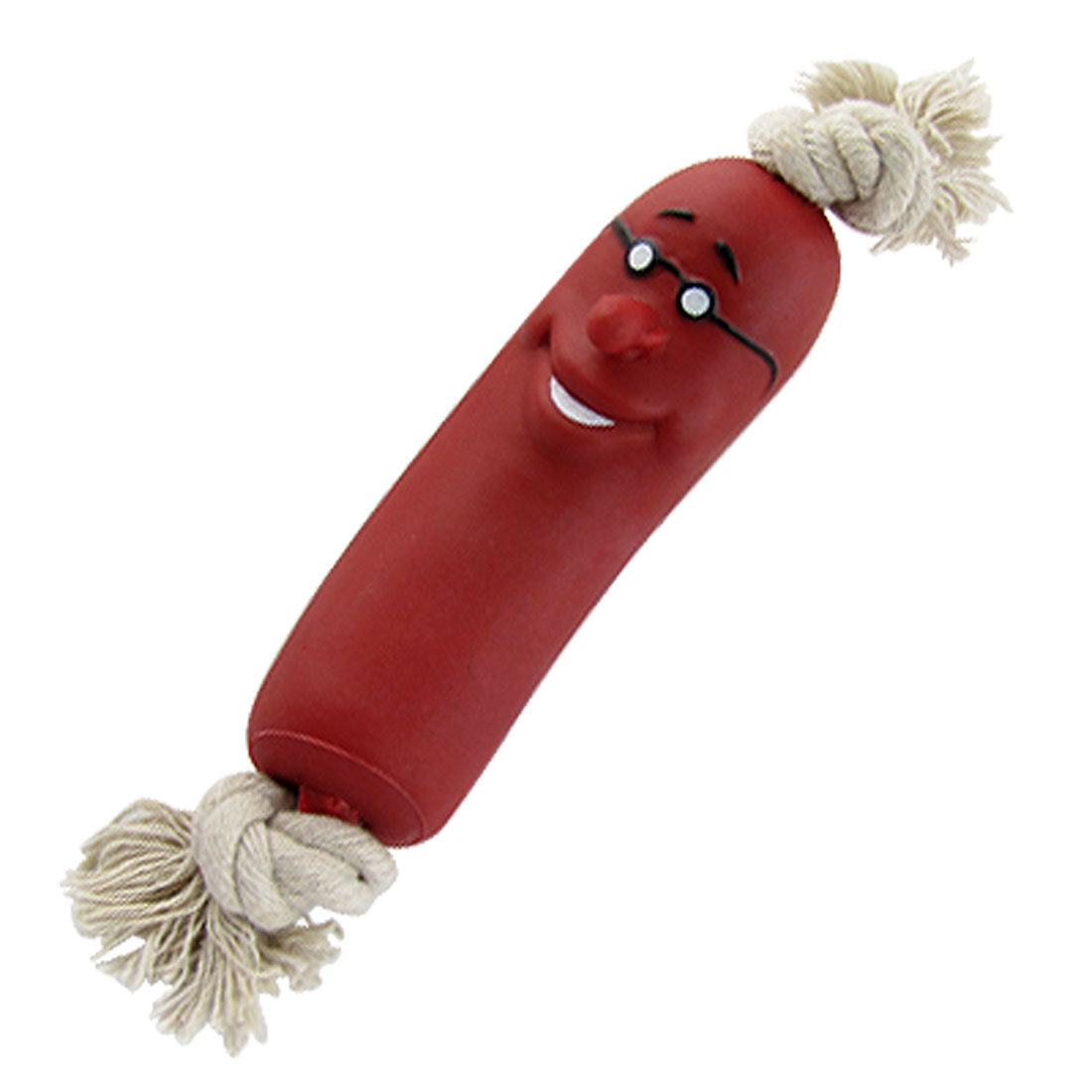 Pet Doggie Red Vinyl Smiling Sausage Chew Toy with Rope