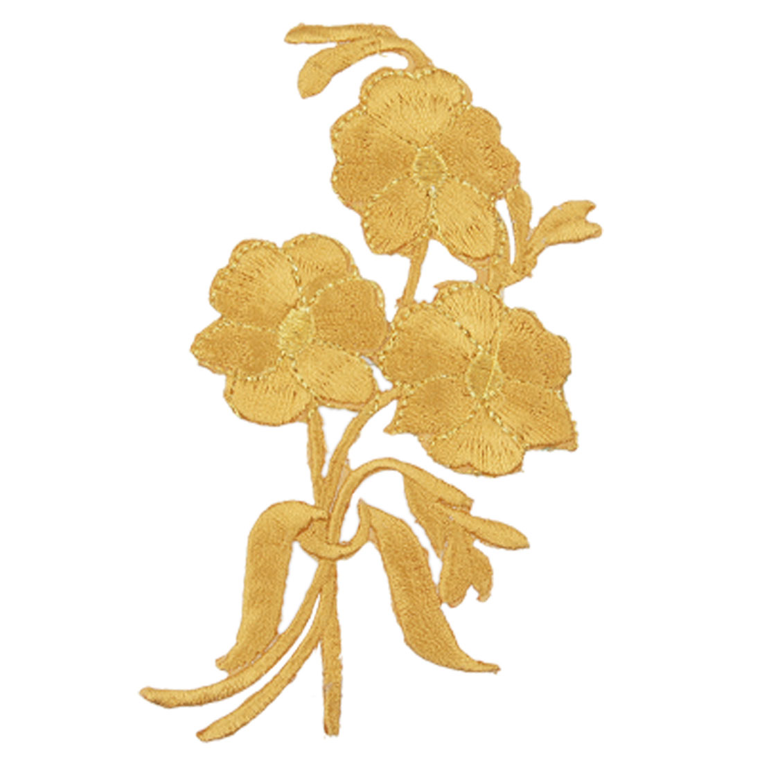 Gold Tone Flower Design Sticker Apparel Embroidered Patch