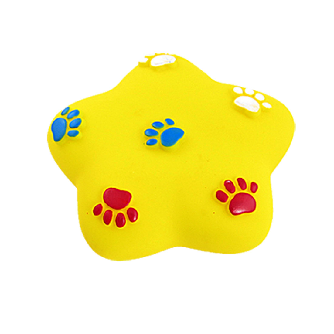 Paw Decor Yellow Vinyl Star-Shape Squeeze Squeaky Toy for Pet Dog