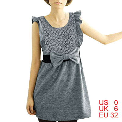 Lady Flouncing Detail Bowknot Decor Waist Gray Dress XS