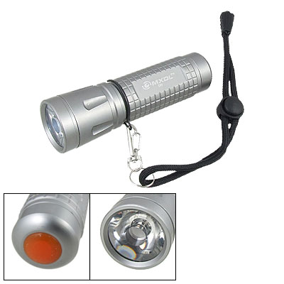 Gray Short Nonslip Aluminum Shell White Light Flashlight