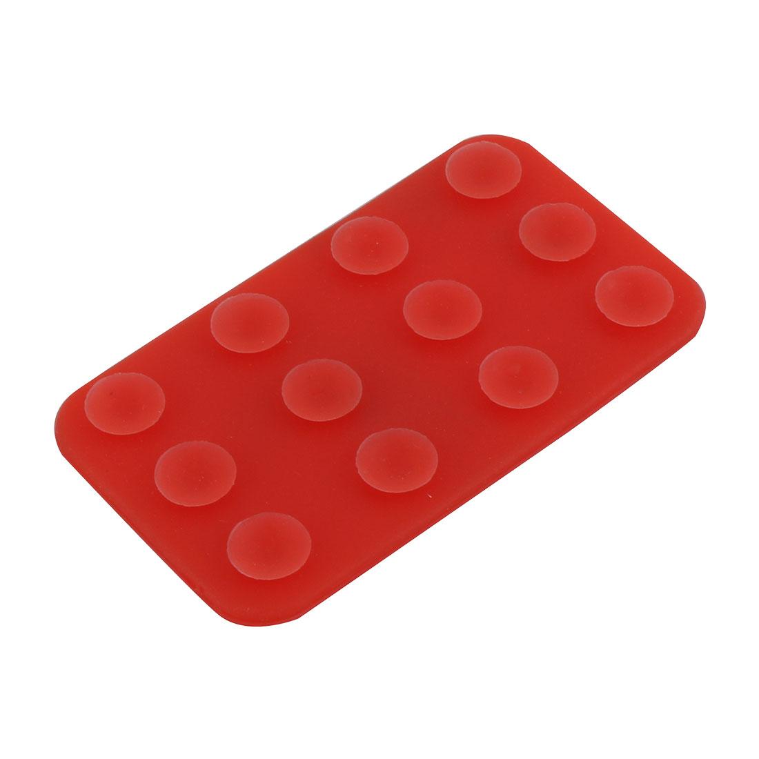Mobile Phone Nonslip Dual Side Sucker Rectangle Mat Anti-slip Holder Red