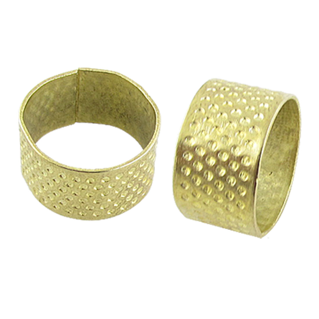 Gold Tone Open Top Tailors Sewing Metal Thimble 2 Pcs
